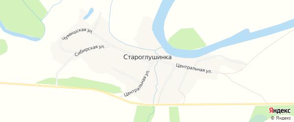 Карта села Староглушинки в Алтайском крае с улицами и номерами домов