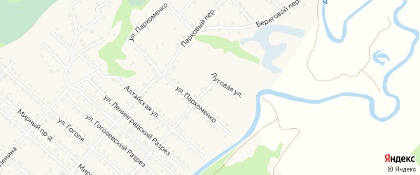 Береговой переулок на карте Троицкого села с номерами домов