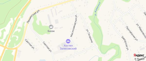 Маслозаводская улица на карте села Залесово с номерами домов