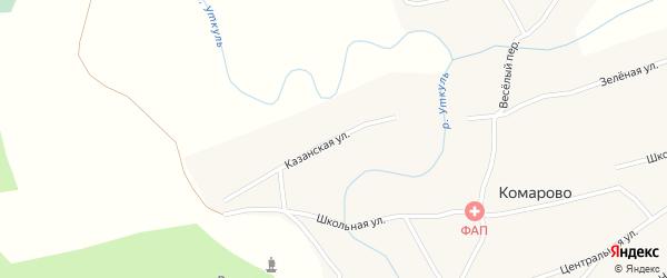Казанская улица на карте села Комарово с номерами домов
