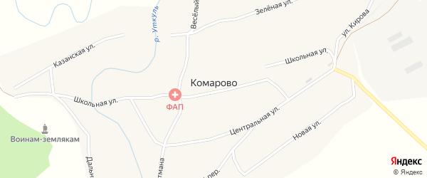 Школьная улица на карте села Комарово с номерами домов