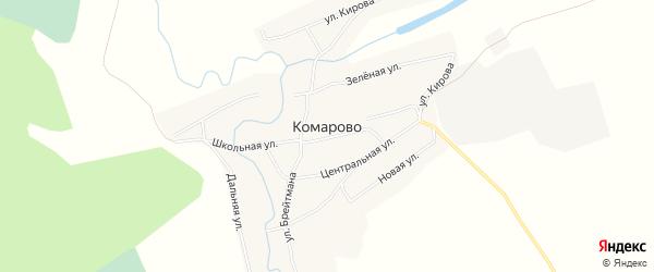 Карта села Комарово в Алтайском крае с улицами и номерами домов