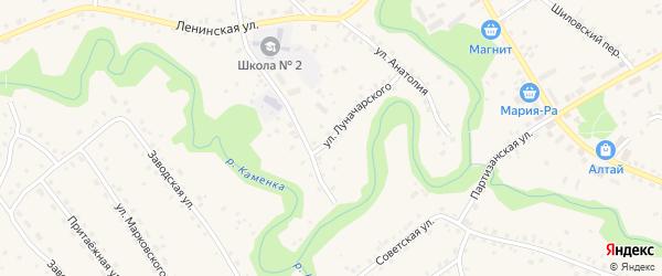 Улица Луначарского на карте села Залесово с номерами домов