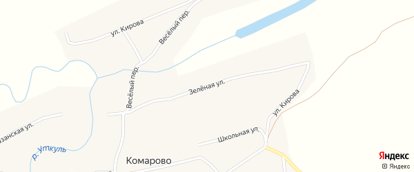 Зеленая улица на карте села Комарово с номерами домов