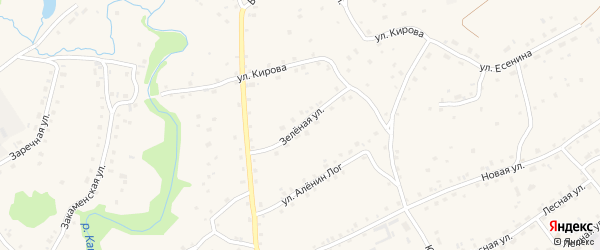 Зеленая улица на карте села Залесово с номерами домов