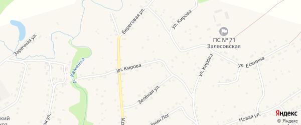 Улица Кирова на карте села Залесово с номерами домов