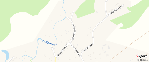 Береговая улица на карте села Залесово с номерами домов