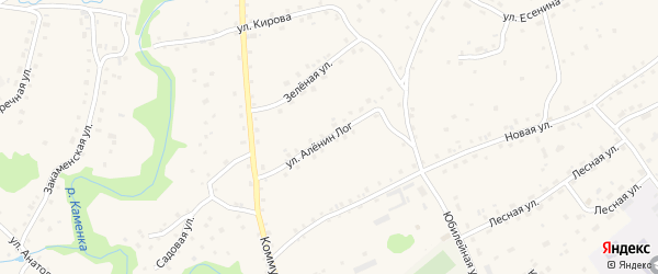 Улица Аленин Лог на карте села Залесово с номерами домов