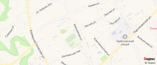 Юбилейная улица на карте села Залесово с номерами домов