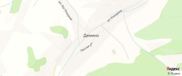 Карта села Демино в Алтайском крае с улицами и номерами домов
