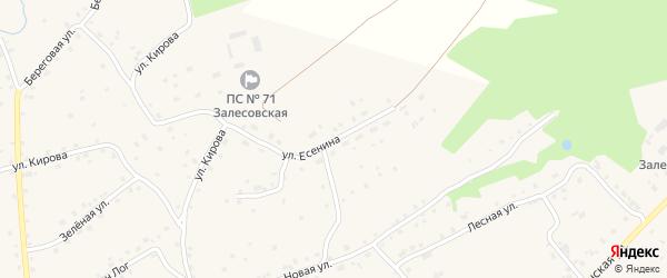 Улица Есенина на карте села Залесово с номерами домов