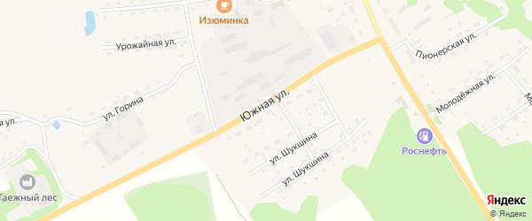 Южная улица на карте села Залесово с номерами домов