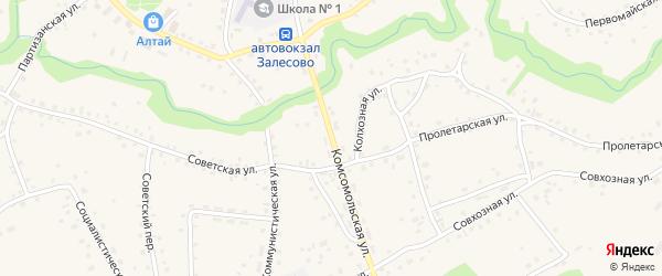 Комсомольская улица на карте села Залесово с номерами домов