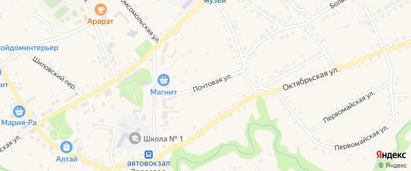 Почтовая улица на карте села Залесово с номерами домов