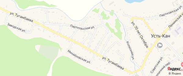 Переулок 3-й Тугамбаева на карте села Усть-Кана с номерами домов