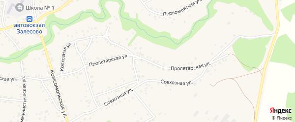 Пролетарская улица на карте села Залесово с номерами домов