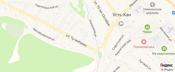 Набережная улица на карте села Усть-Кана с номерами домов