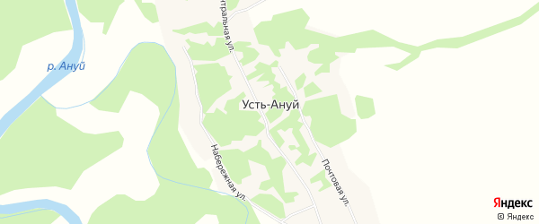 Карта села Усть-Ануй в Алтайском крае с улицами и номерами домов