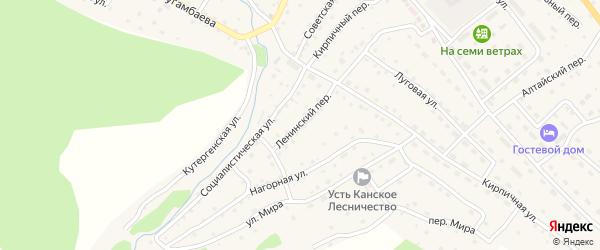 Ленинский переулок на карте села Усть-Кана с номерами домов