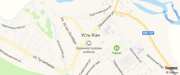 Переулок Геологов на карте села Усть-Кана с номерами домов