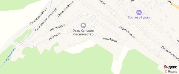 Переулок Мира на карте села Усть-Кана с номерами домов