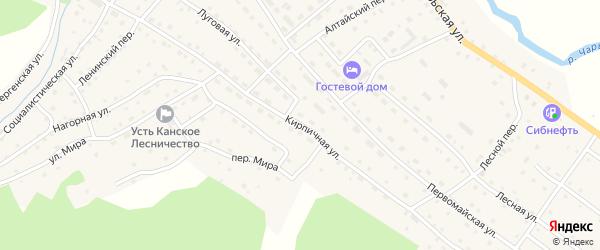 Кирпичная улица на карте села Усть-Кана с номерами домов
