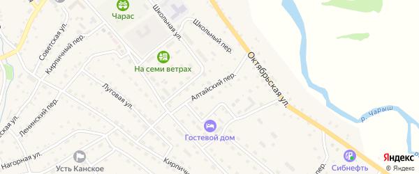Алтайский переулок на карте села Усть-Кана с номерами домов
