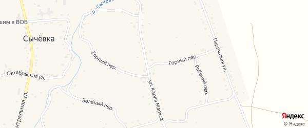 Горный переулок на карте села Сычевки с номерами домов
