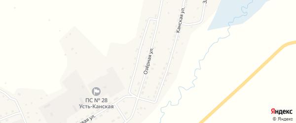 Озерная улица на карте села Усть-Кана с номерами домов