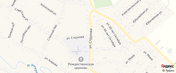 Улица Струкова на карте села Соколово с номерами домов
