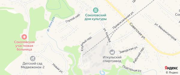 Клубный переулок на карте села Соколово с номерами домов
