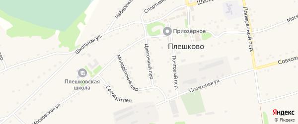 Цветочный переулок на карте села Плешково с номерами домов