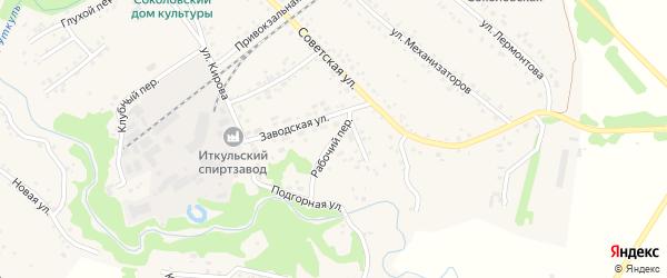 Рабочий переулок на карте села Соколово с номерами домов