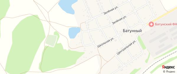 Зеленая улица на карте Батунного поселка с номерами домов