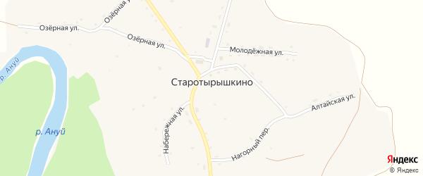 Южный переулок на карте села Старотырышкино с номерами домов
