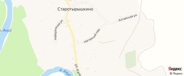Нагорный переулок на карте села Старотырышкино с номерами домов