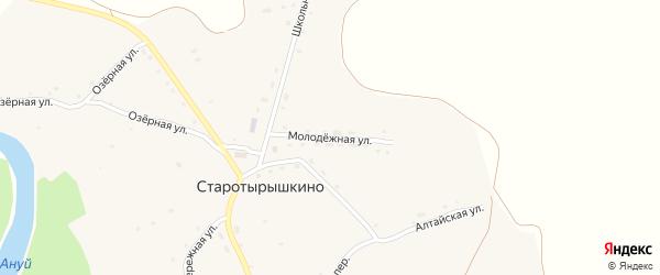 Молодежная улица на карте села Старотырышкино с номерами домов