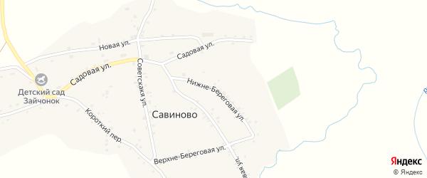 Нижне-Береговая улица на карте села Савиново с номерами домов