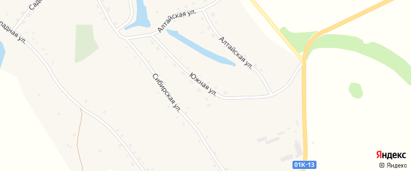 Южная улица на карте Ануйского села с номерами домов