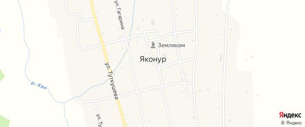 Улица Мира на карте села Яконура с номерами домов