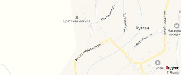 Горный переулок на карте села Куягана с номерами домов