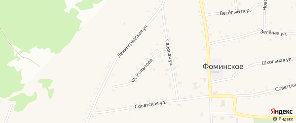 Улица Копытова на карте Фоминского села с номерами домов