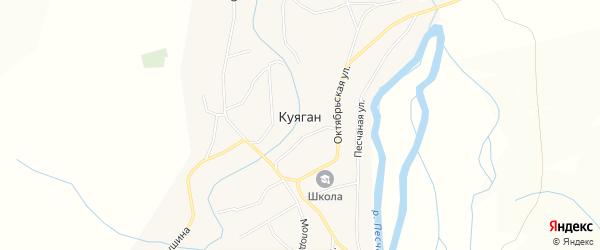 Карта села Куягана в Алтайском крае с улицами и номерами домов