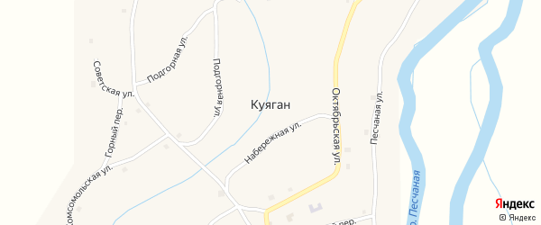 Больничный переулок на карте села Куягана с номерами домов
