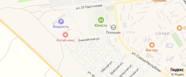 Енисейская улица на карте Заринска с номерами домов