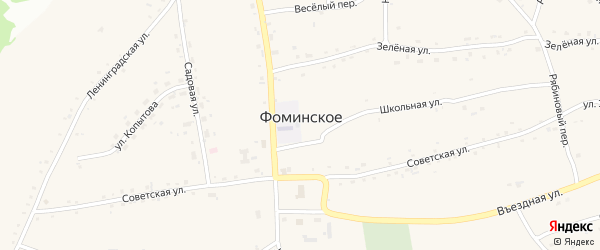 Медовый переулок на карте Фоминского села с номерами домов