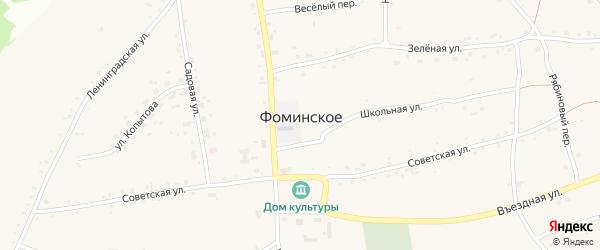 Солнечный переулок на карте Фоминского села с номерами домов