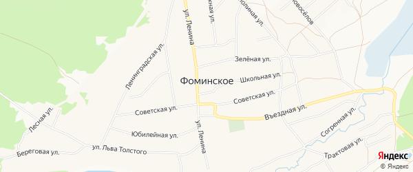 Карта Фоминского села города Бийска в Алтайском крае с улицами и номерами домов