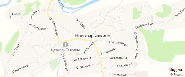 Карта села Новотырышкино в Алтайском крае с улицами и номерами домов