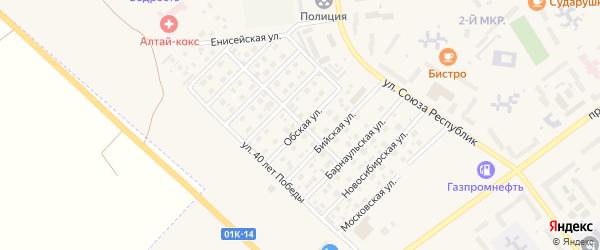 Обская улица на карте Заринска с номерами домов